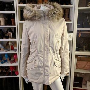 Zara Beige Tan Quilted Parka Jacket Coat with Hood